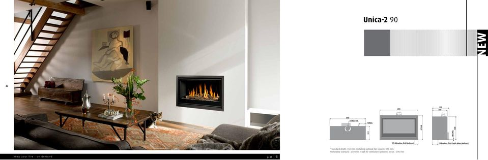 Including optional fan system: 390 mm. Profondeur standard : mm et set de ventilation optionnel inclus : 390 mm keep your fire - on demand p.