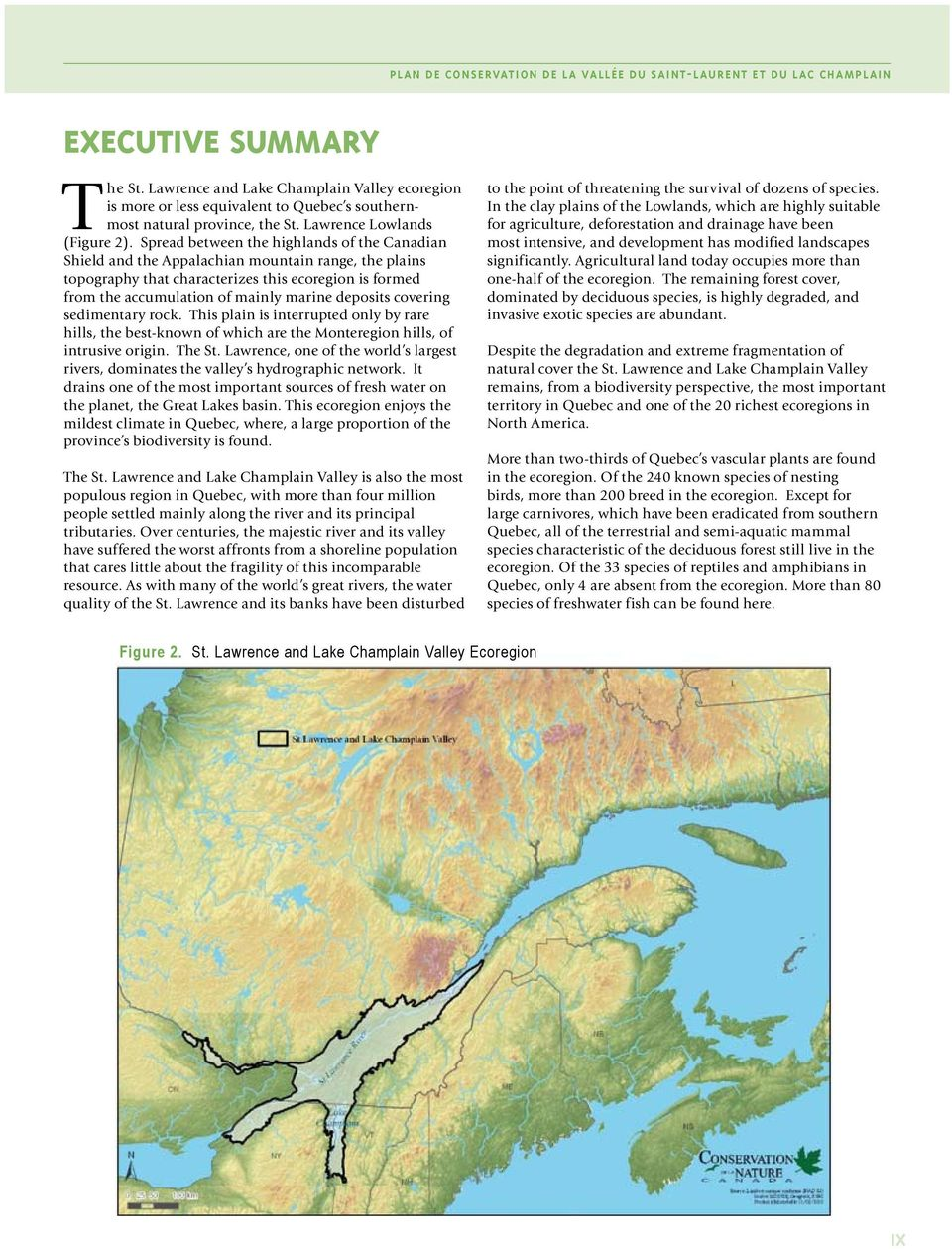 Spread between the highlands of the Canadian Shield and the Appalachian mountain range, the plains topography that characterizes this ecoregion is formed from the accumulation of mainly marine
