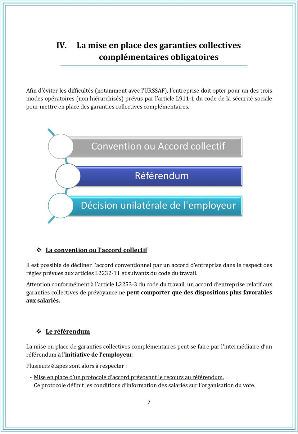 Convention ou Accord collectif Référendum Décision unilatérale de l'employeur La convention ou l accord collectif Il est possible de décliner l accord conventionnel par un accord d entreprise dans le
