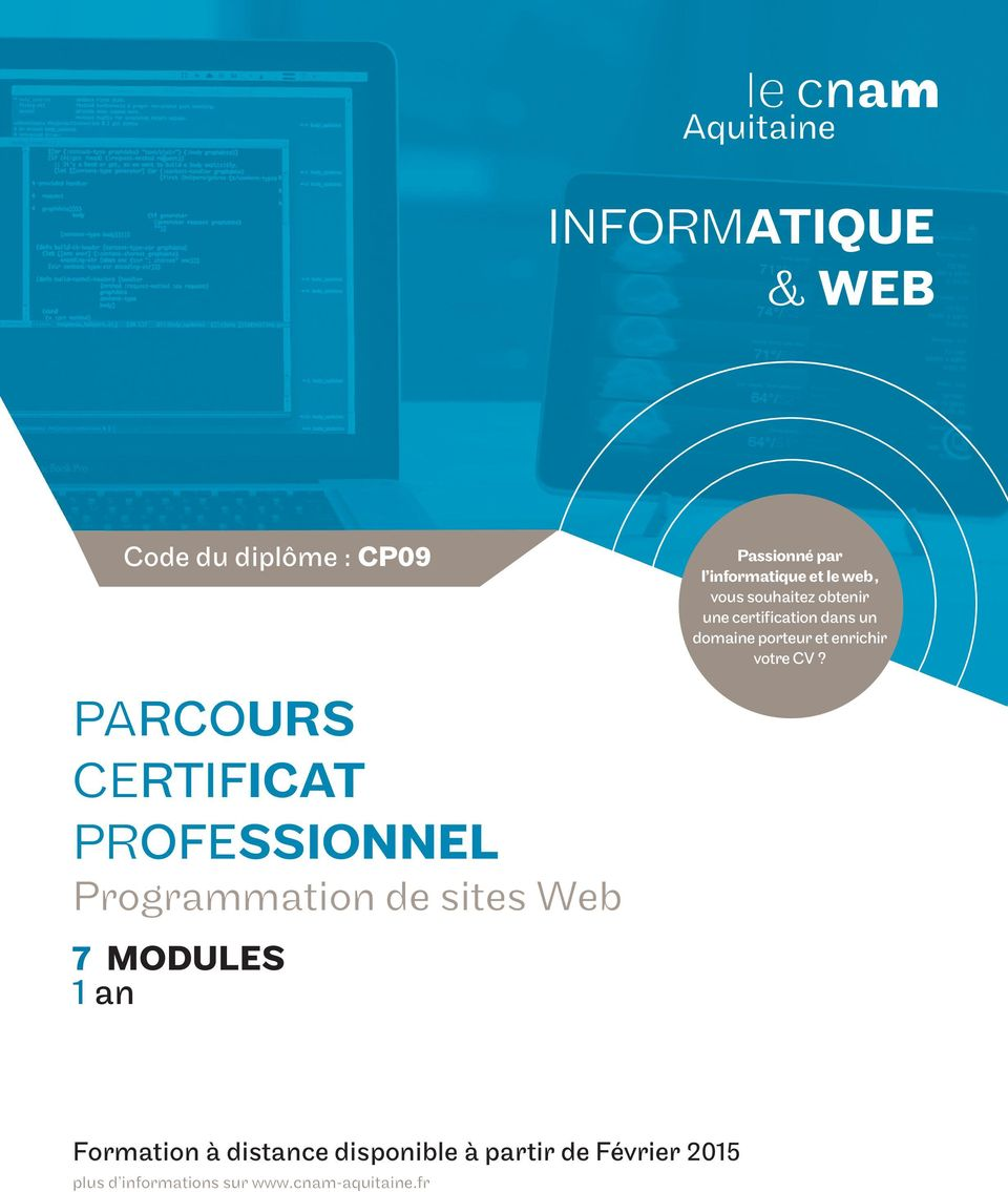 PARCOURS CERTIFICAT PROFESSIONNEL Programmation de sites Web 7 MODULES 1 an Formation