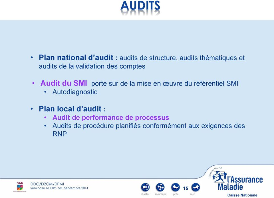 référentiel SMI Autodiagnostic Plan local d audit : Audit de performance de