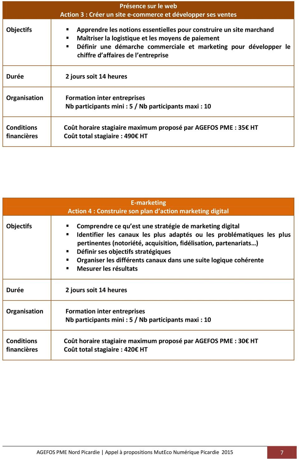 total stagiaire : 490 HT E-marketing Action 4 : Construire son plan d action marketing digital Objectifs Comprendre ce qu est une stratégie de marketing digital Identifier les canaux les plus adaptés