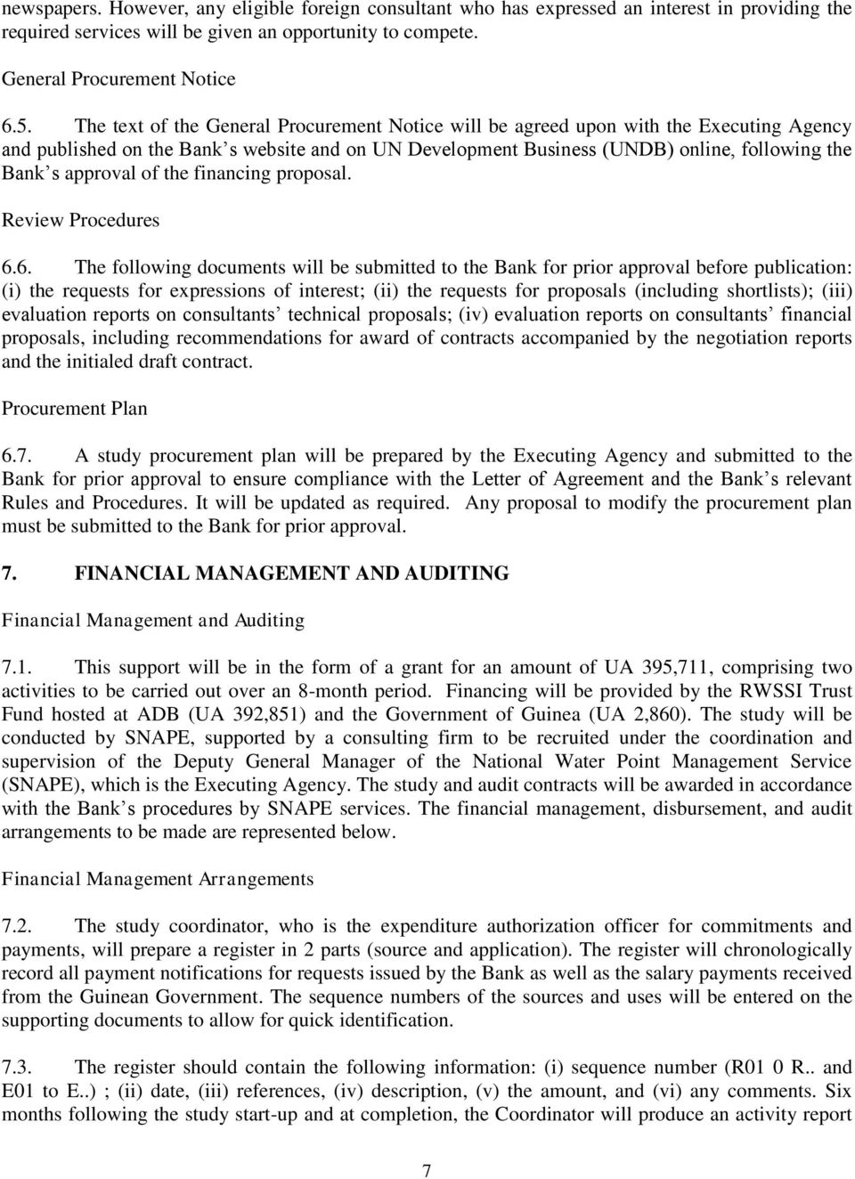 approval of the financing proposal. Review Procedures 6.