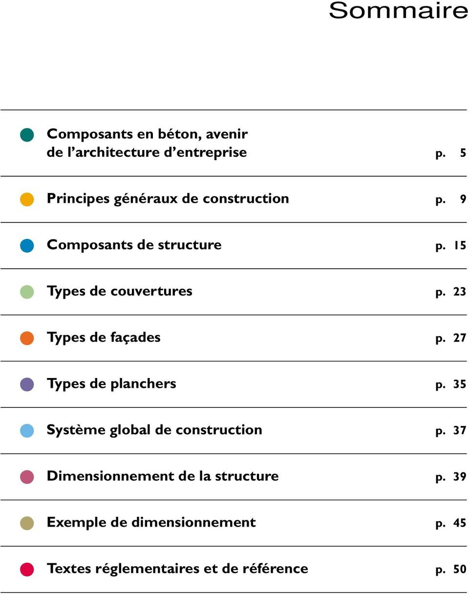 15 Types de couvertures p. 23 Types de façades p. 27 Types de planchers p.