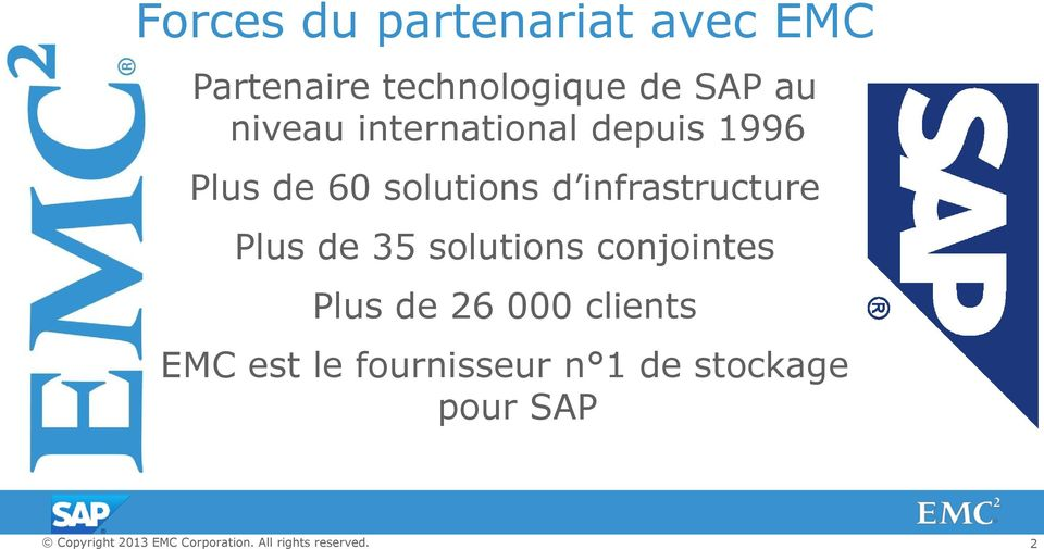 d infrastructure Plus de 35 solutions conjointes Plus de 26