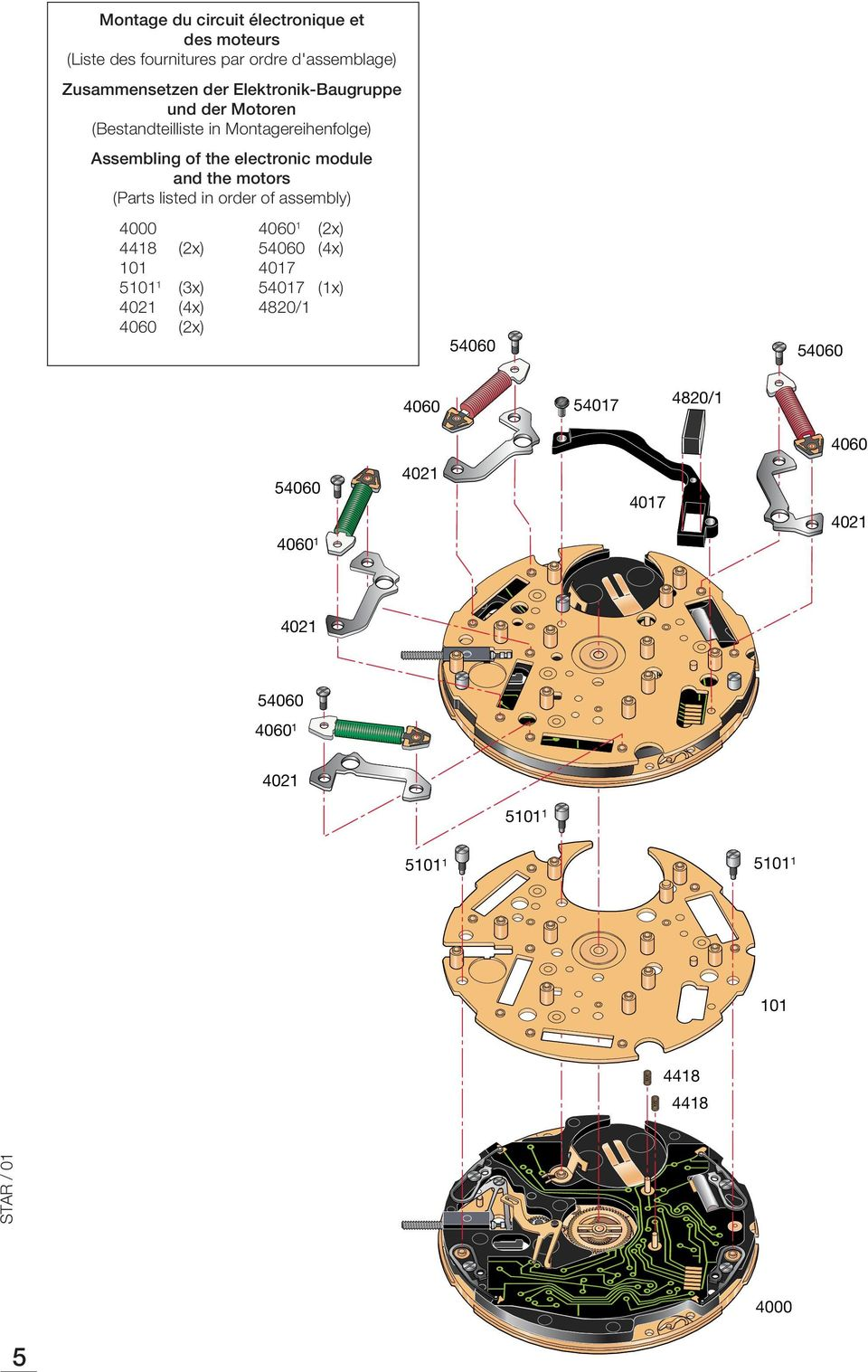 ssembling of the electronic module and the motors (Parts listed in order of assembly) 00 0 (x)