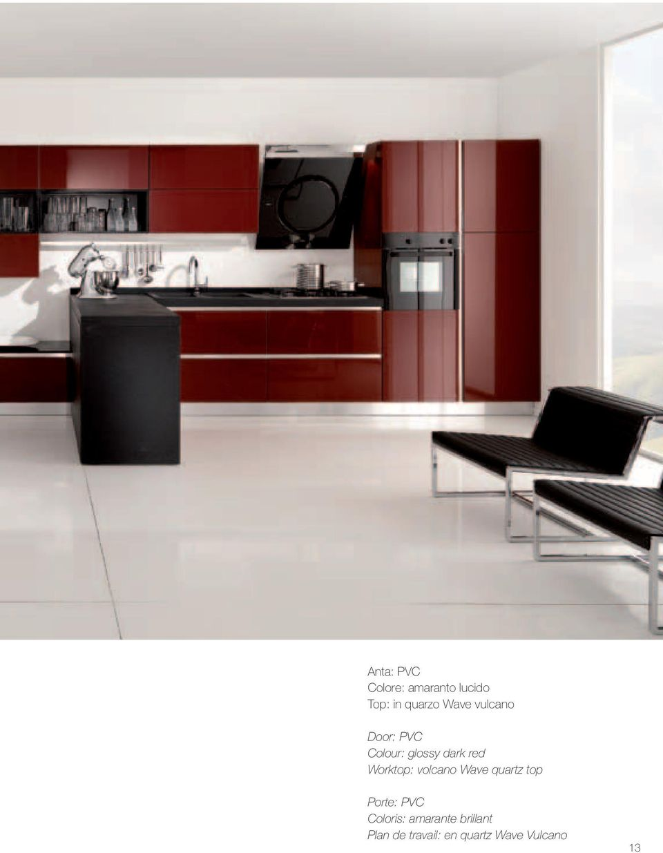 Worktop: volcano Wave quartz top Porte: PVC Coloris: