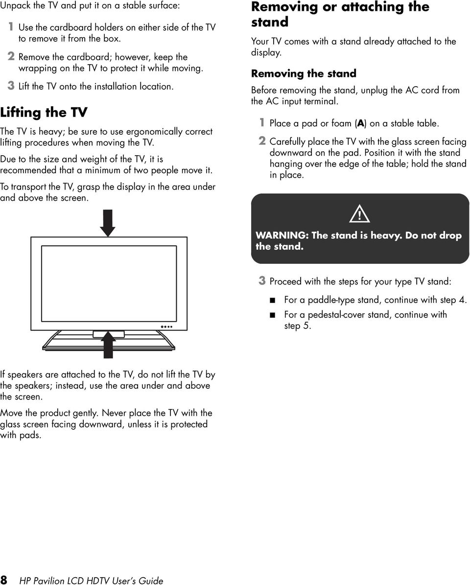 Lifting the TV The TV is heavy; be sure to use ergonomically correct lifting procedures when moving the TV.