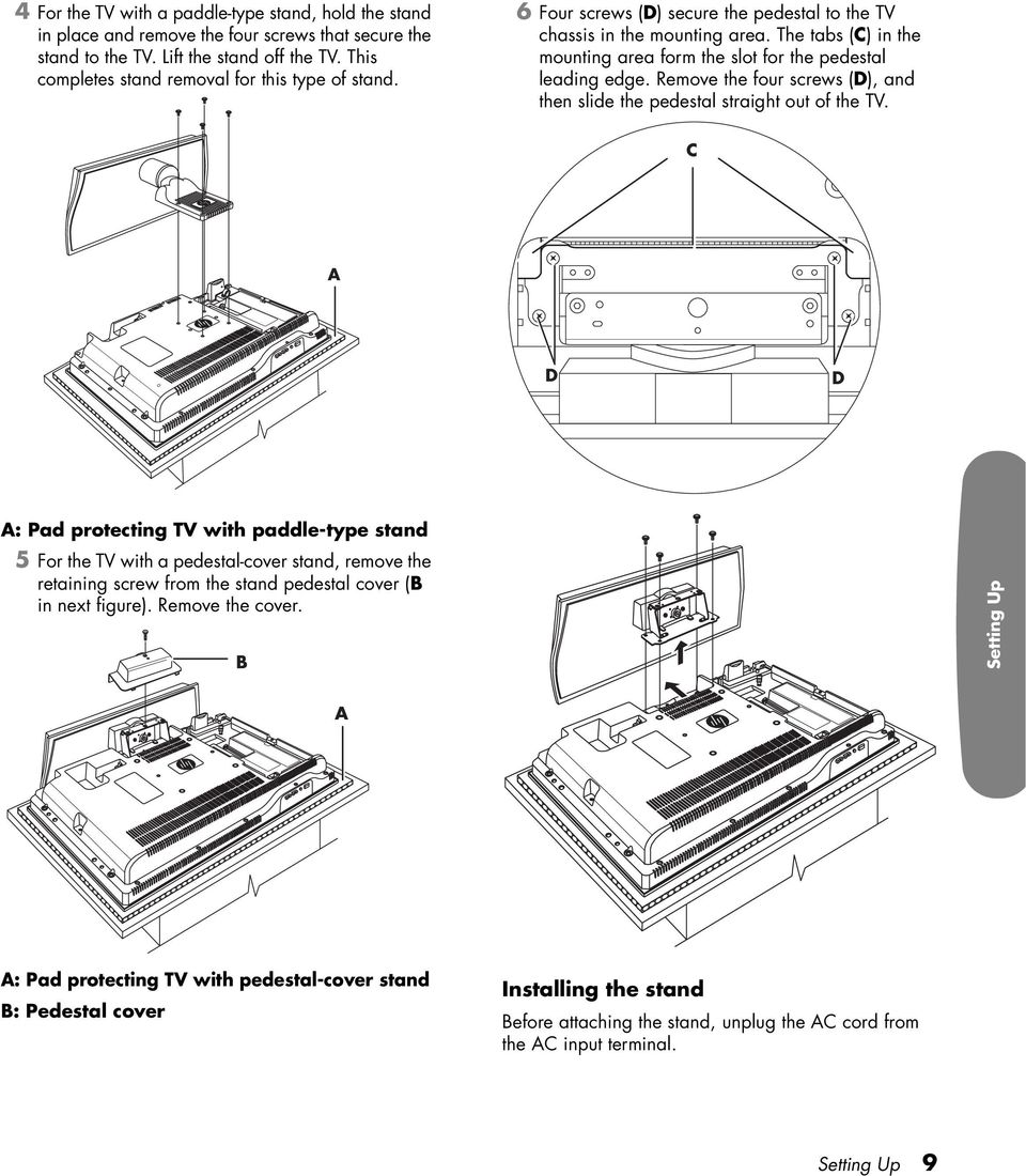 The tabs (C) in the mounting area form the slot for the pedestal leading edge. Remove the four screws (D), and then slide the pedestal straight out of the TV.