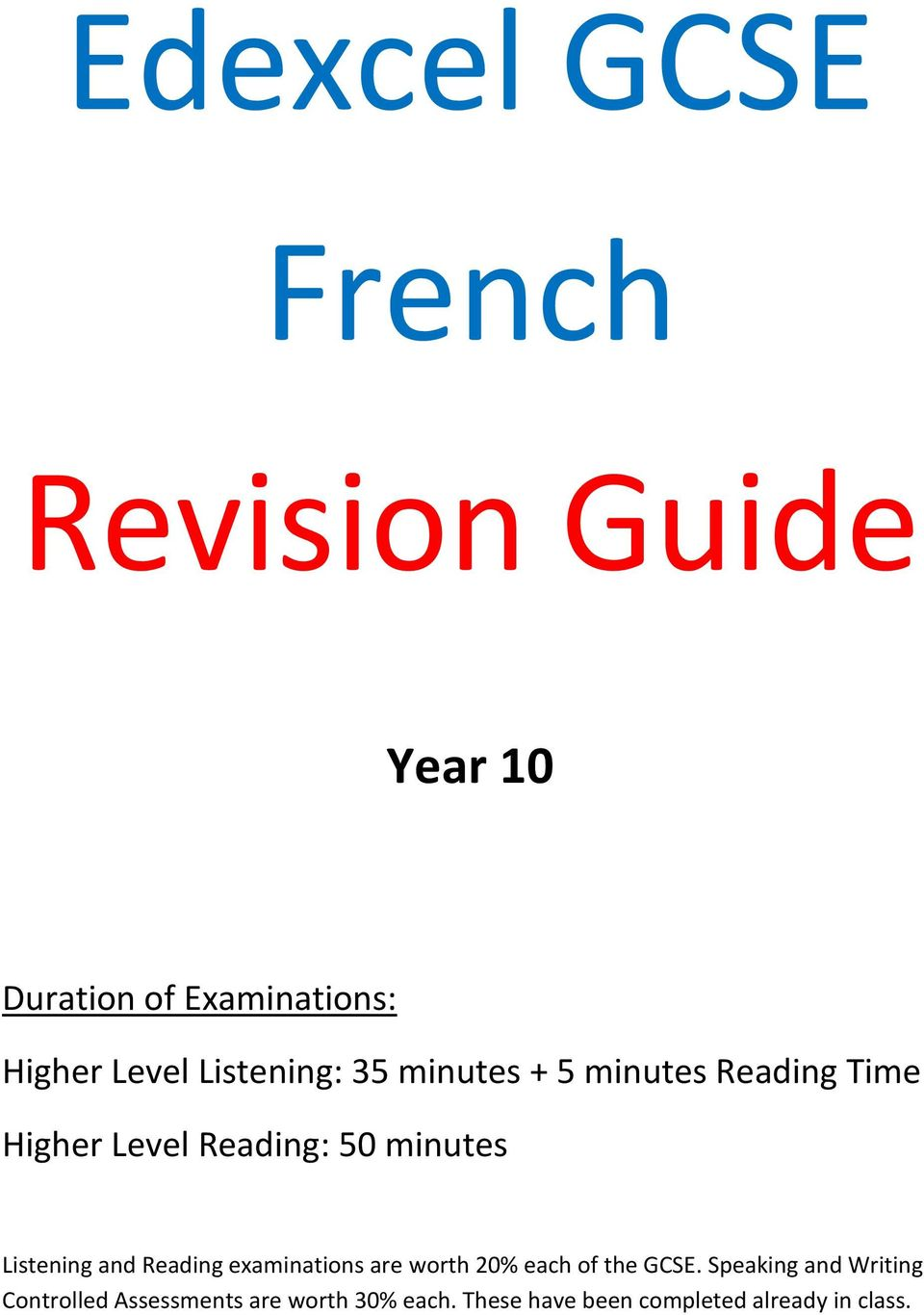 Listening and Reading examinations are worth 20% each of the GCSE.