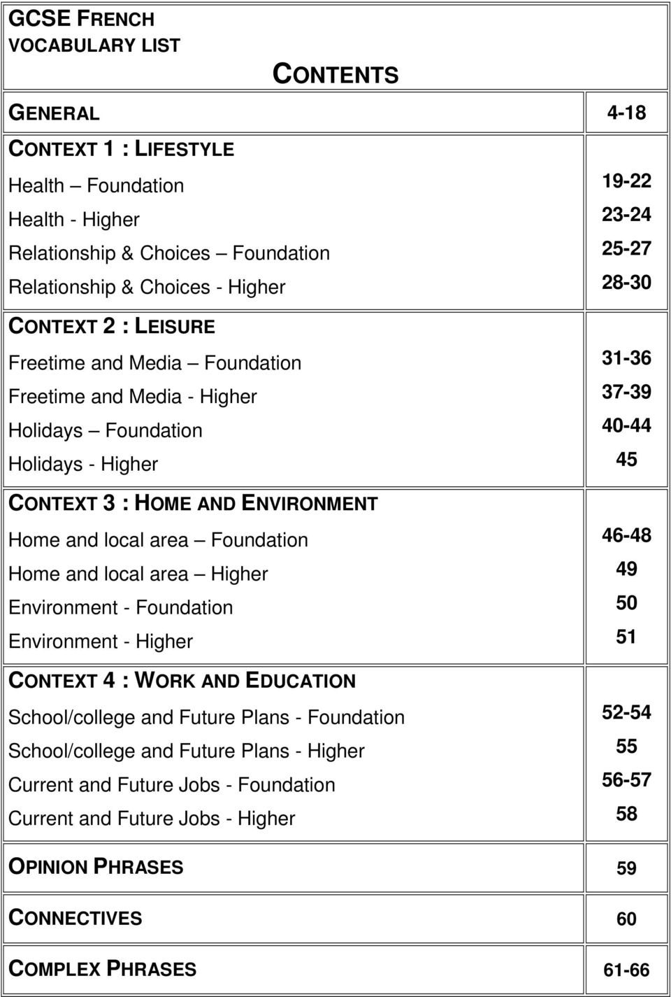 Environment - Foundation Environment - Higher CONTEXT 4 : WORK AND EDUCATION School/college and Future Plans - Foundation School/college and Future Plans - Higher Current and