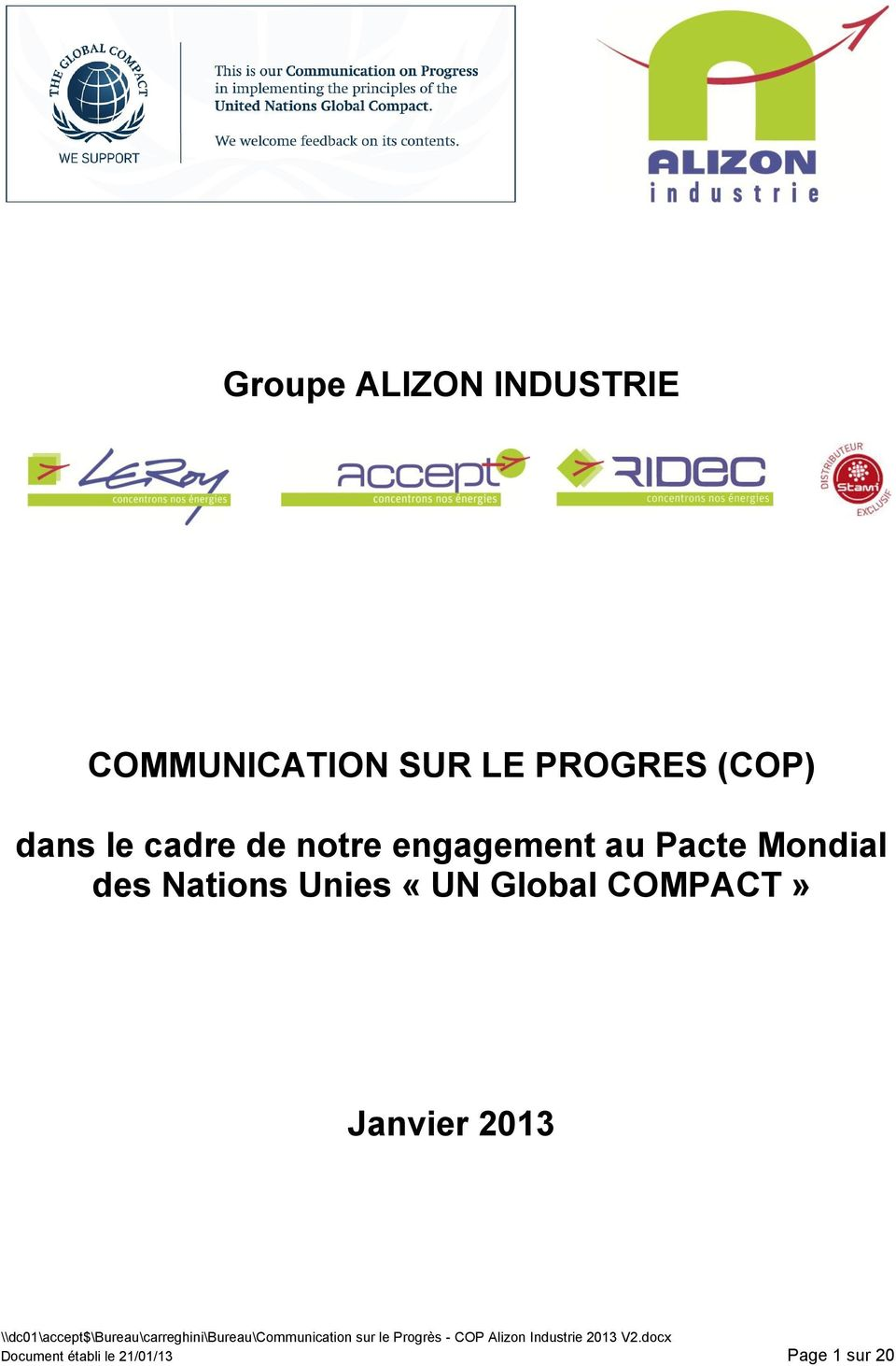 Pacte Mondial des Nations Unies «UN Global