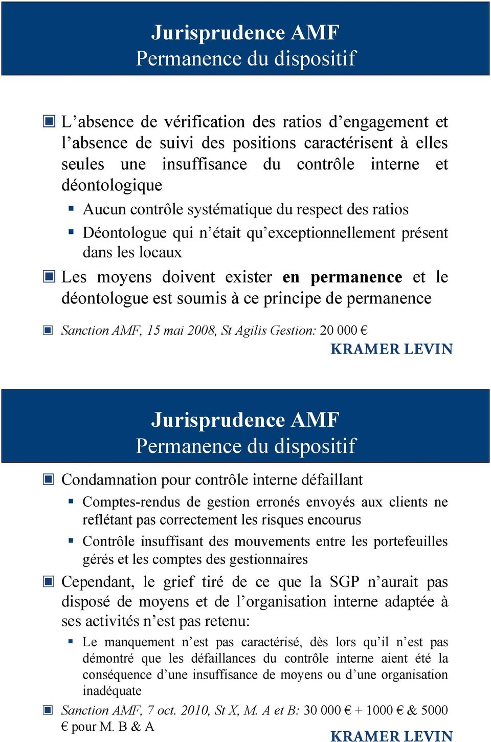 de permanence Sanction AMF, 15 mai 2008, St Agilis Gestion: 20 000 Permanence du dispositif Condamnation pour contrôle interne défaillant Comptes-rendus de gestion erronés envoyés aux clients ne