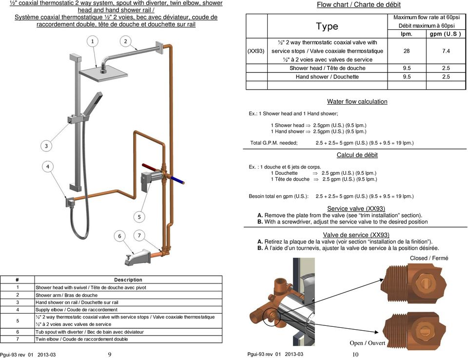 service Maximum flow rate at 60psi Débit maximum à 60psi lpm. gpm (U.S ) 28 7.4 Shower head / Tête de douche 9.5 2.5 Hand shower / Douchette 9.5 2.5 Water flow calculation Ex.