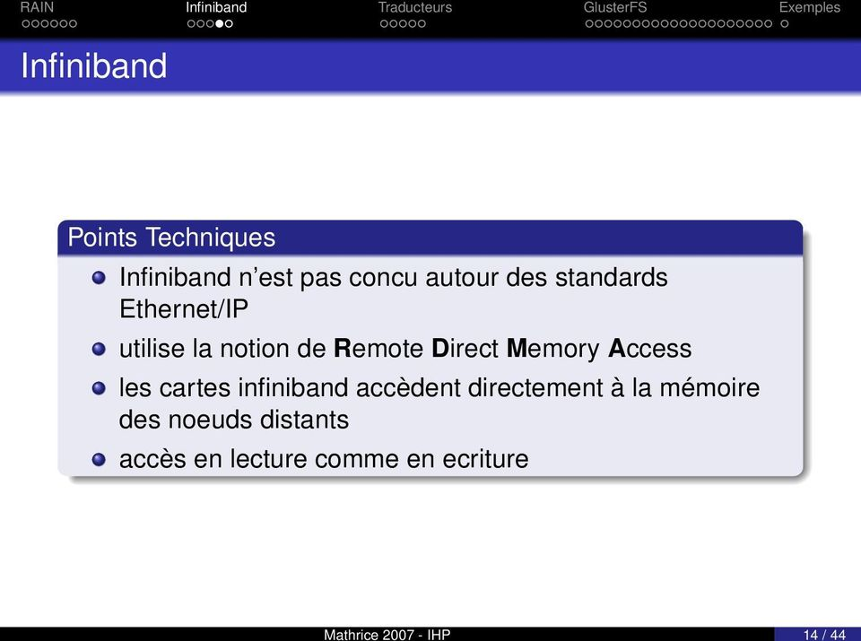 de Remote Direct Memory Access les cartes infiniband accèdent