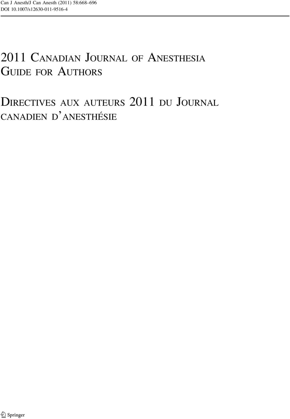 1007/s12630-011-9516-4 2011 CANADIAN JOURNAL