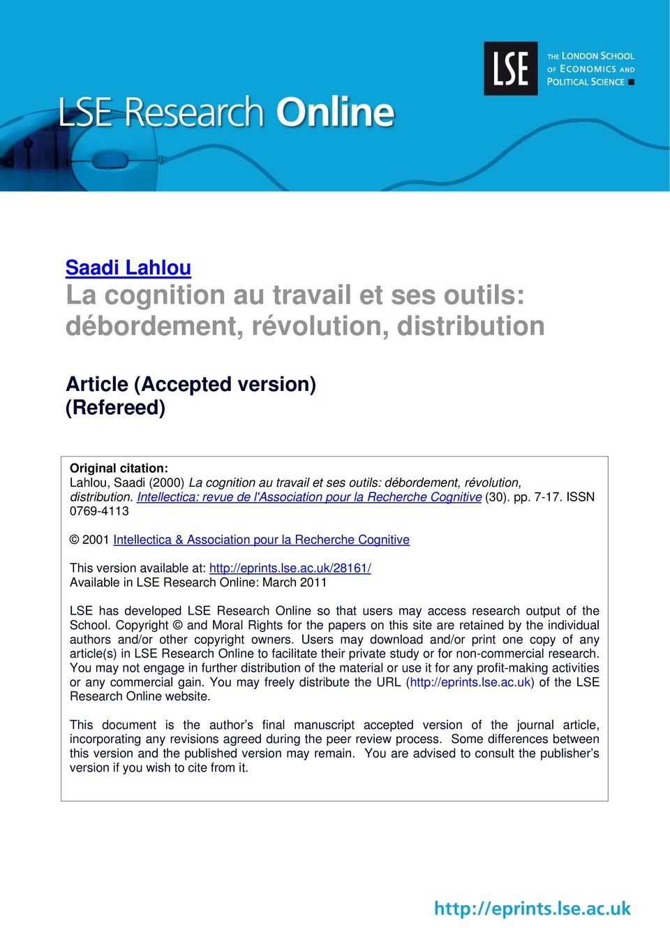 ISSN 0769-4113 2001 Intellectica & Association pour la Recherche Cognitive This version available at: http://eprints.lse.ac.