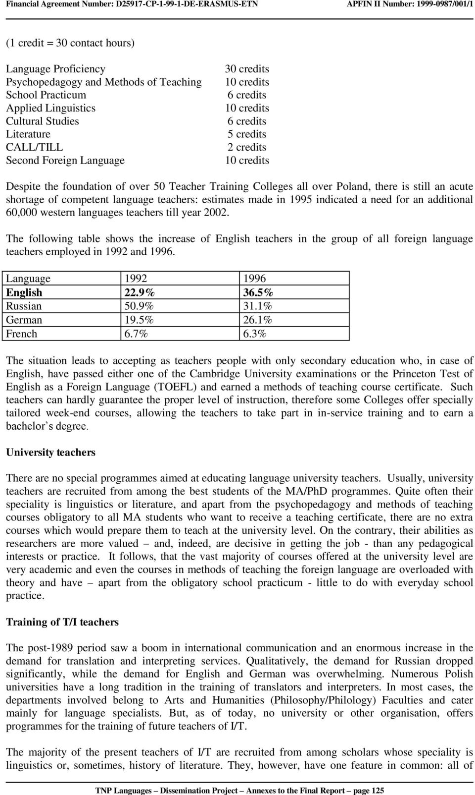 language teachers: estimates made in 1995 indicated a need for an additional 60,000 western languages teachers till year 2002.