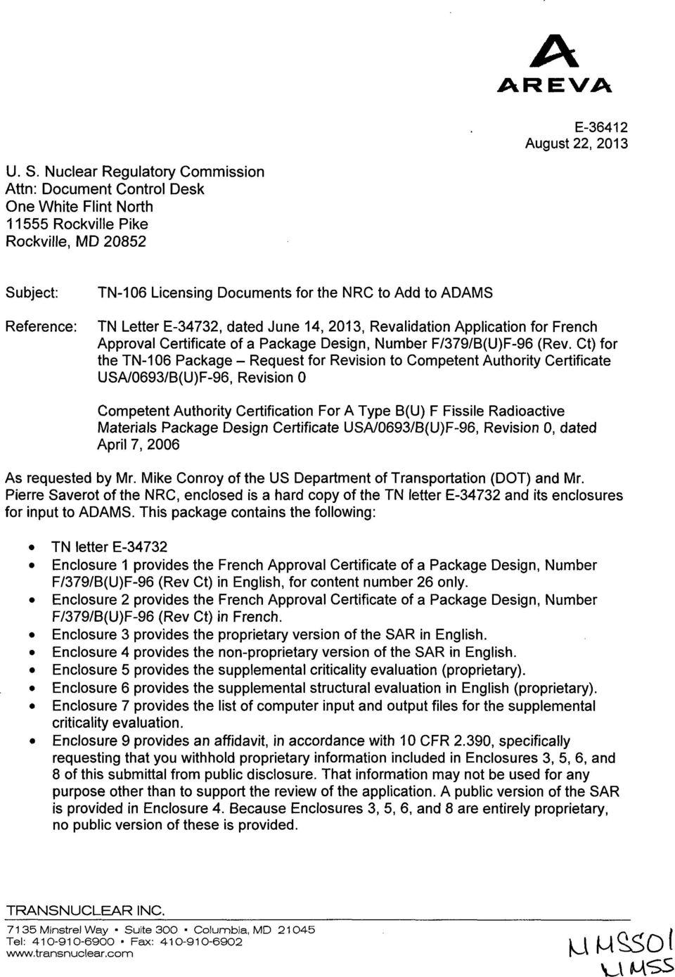 Letter E-34732, dated June 14, 2013, Revalidation Application for French Approval Certificate of a Package Design, Number F/379/B(U)F-96 (Rev.