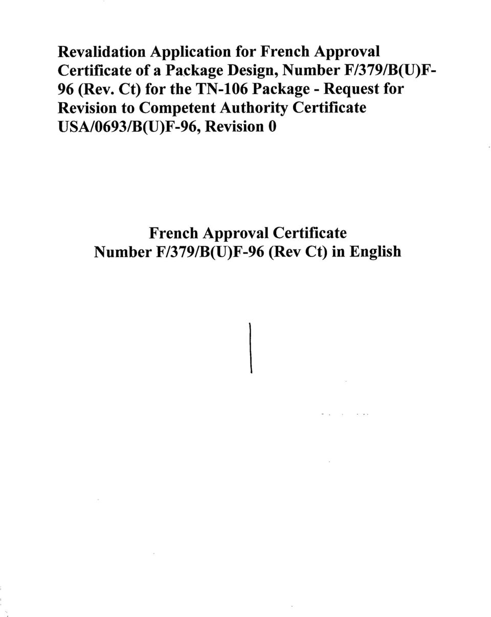 Ct) for the TN-106 Package - Request for Revision to Competent Authority