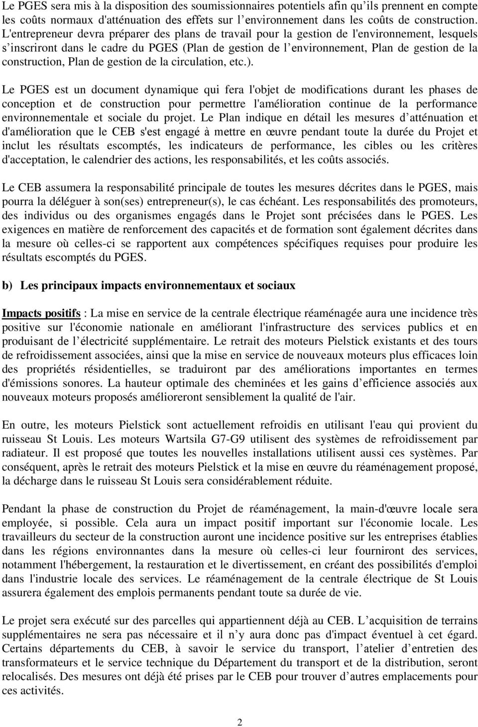 construction, Plan de gestion de la circulation, etc.).
