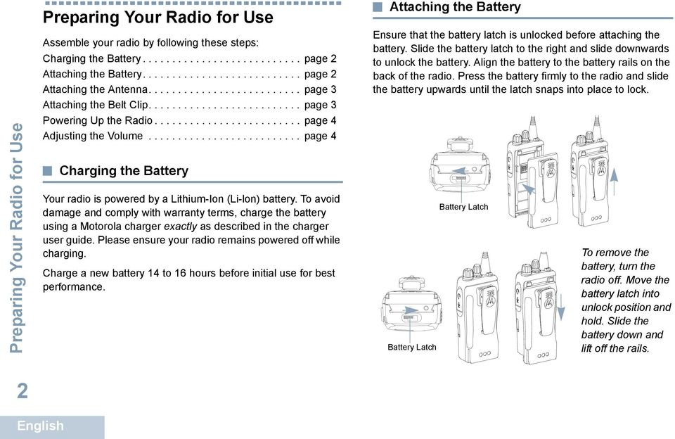 ......................... page 4 Charging the Battery Your radio is powered by a Lithium-Ion (Li-lon) battery.