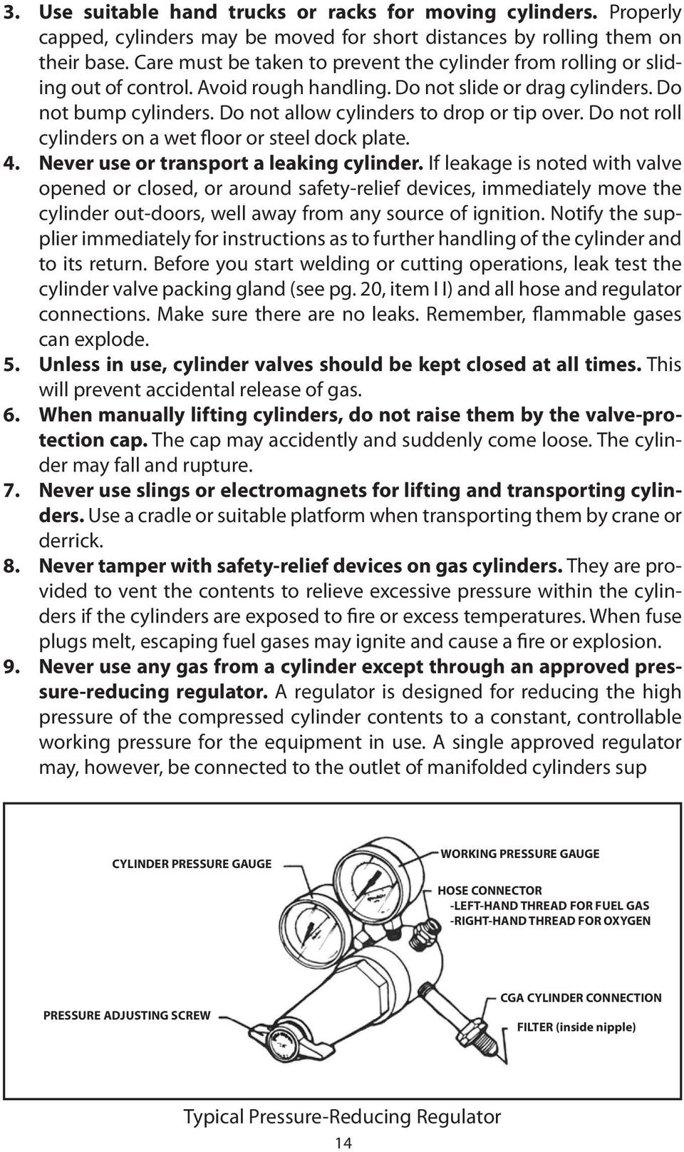 Do not allow cylinders to drop or tip over. Do not roll cylinders on a wet floor or steel dock plate. 4. Never use or transport a leaking cylinder.