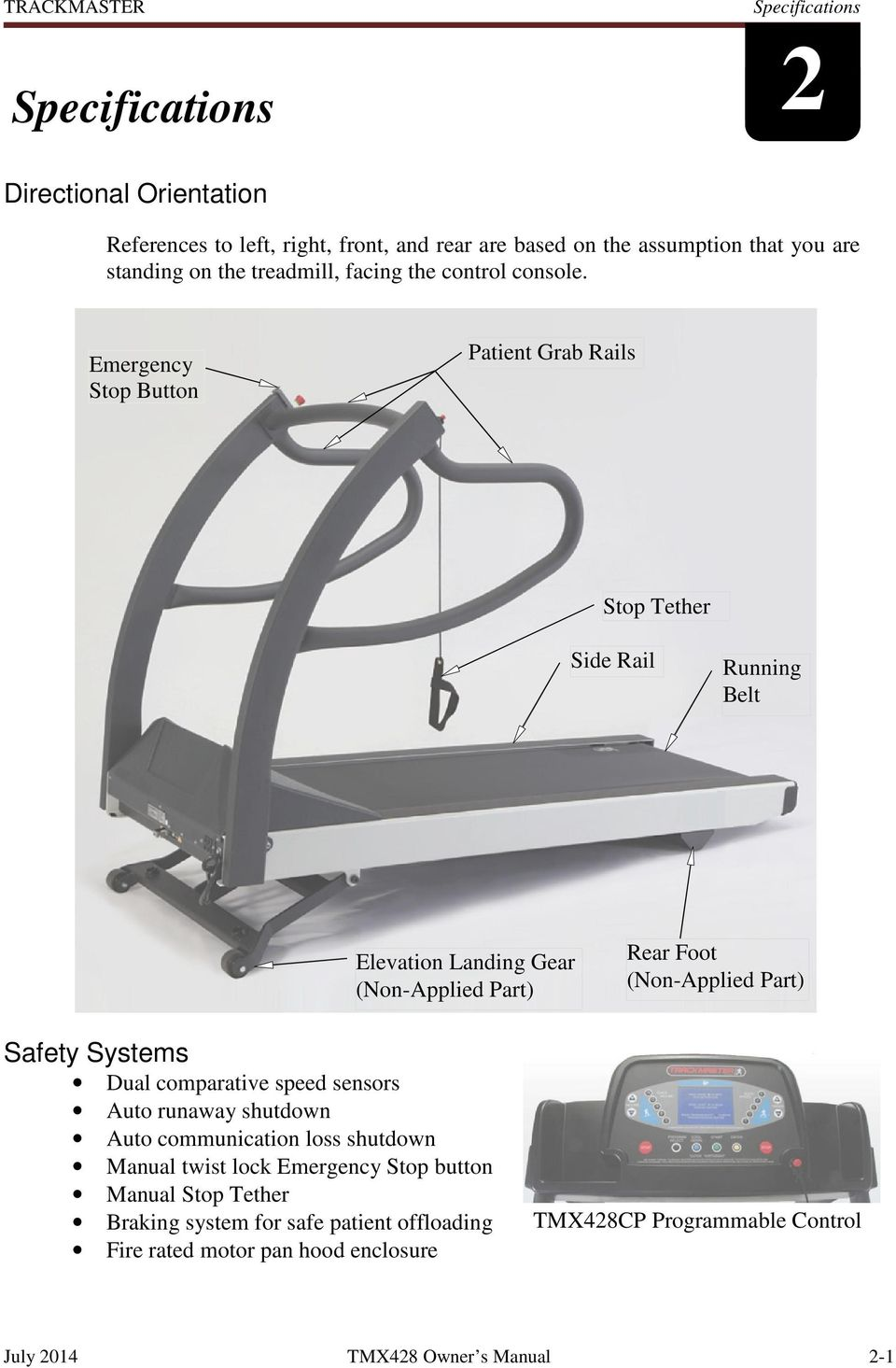 Emergency Stop Button Patient Grab Rails Stop Tether Side Rail Running Belt Elevation Landing Gear (Non-Applied Part) Rear Foot (Non-Applied Part) Safety Systems