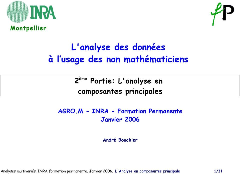 M - INRA - Formation Permanente Janvier 2006 André Bouchier Analyses