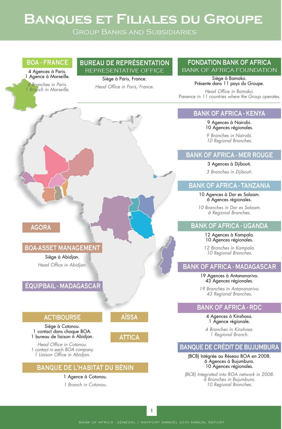 Head Office in Bamako. Presence in 11 countries where the Group operates. BANK OF AFRICA - KENYA 9 Agences à Nairobi. 10 Agences régionales. 9 Branches in Nairobi. 10 Regional Branches.