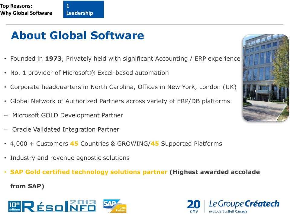Partners across variety of ERP/DB platforms Microsoft GOLD Development Partner Oracle Validated Integration Partner 4,000 + Customers 45 Countries &