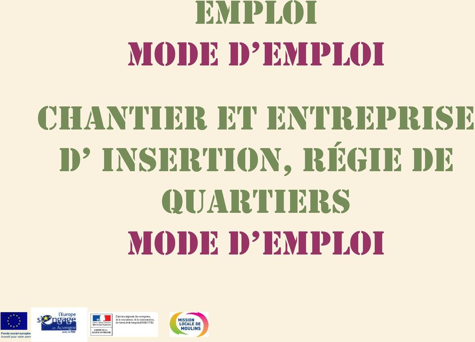 quartiers MODE D EMPLOi Fonds