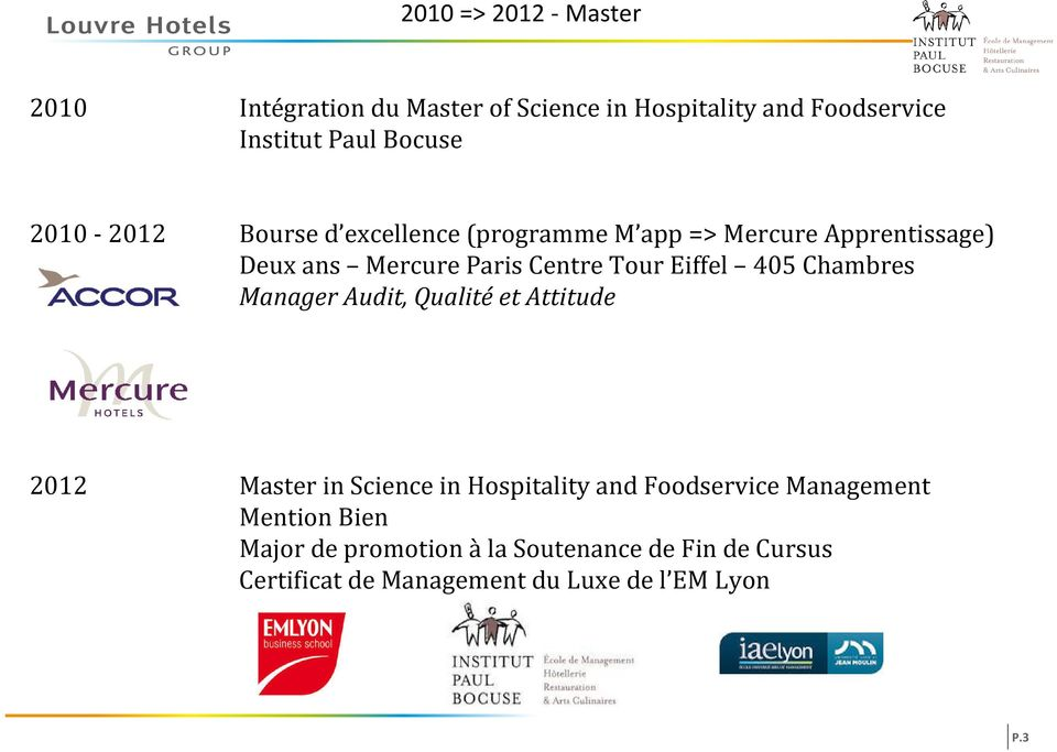 Eiffel 405 Chambres Manager Audit, Qualité et Attitude 2012 Master in Science in Hospitality and Foodservice