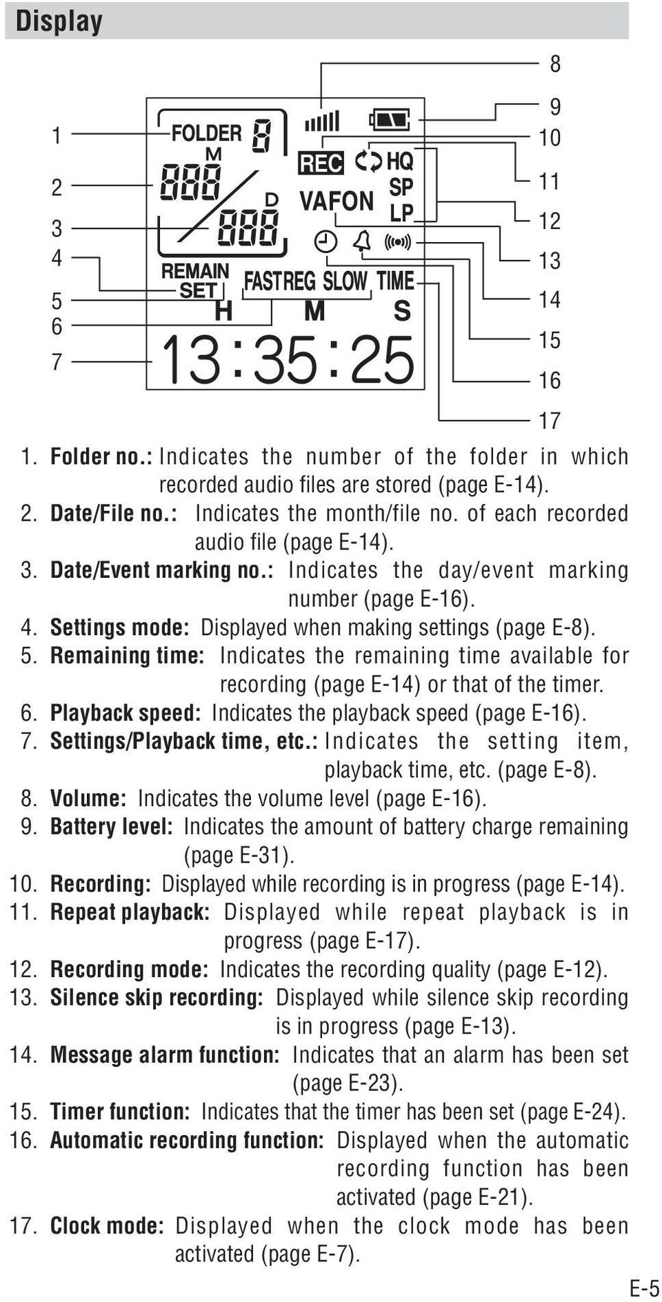 Remaining time: Indicates the remaining time available for recording (page E-4) or that of the timer. 6. Playback speed: Indicates the playback speed (page E-6). 7. Settings/Playback time, etc.