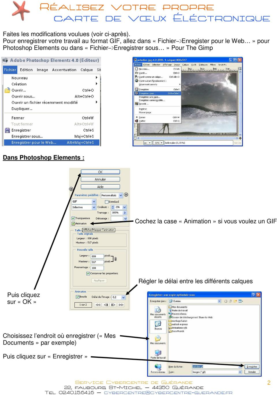 Elements ou dans «Fichier->Enregistrer sous» Pour The Gimp Dans Photoshop Elements : Cochez la case «Animation»