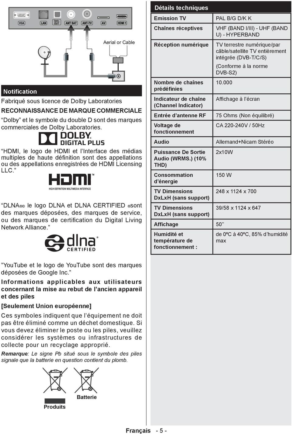 marques commerciales de Dolby Laboratories. HDMI, le logo de HDMI et l Interface des médias multiples de haute définition sont des appellations ou des appellations enregistrées de HDMI Licensing LLC.