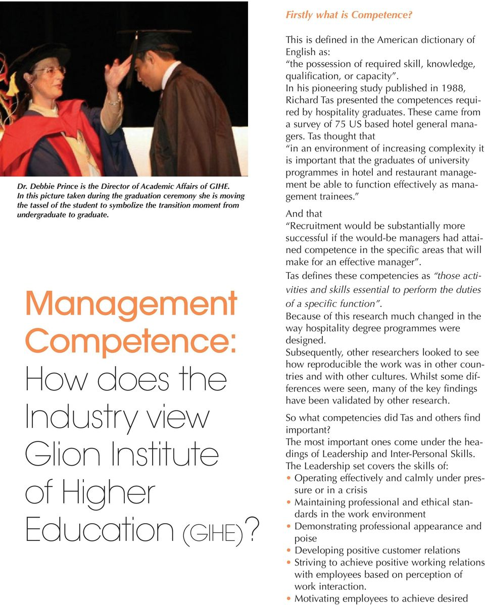 Management Competence: How does the Industry view Glion Institute of Higher Education (GIHE)?
