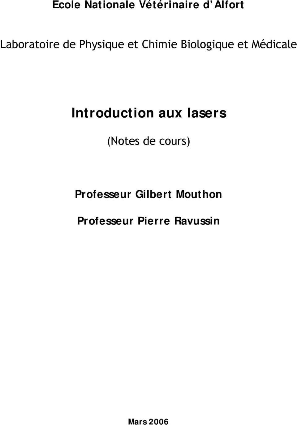 Introduction aux lasers (Notes de cours)