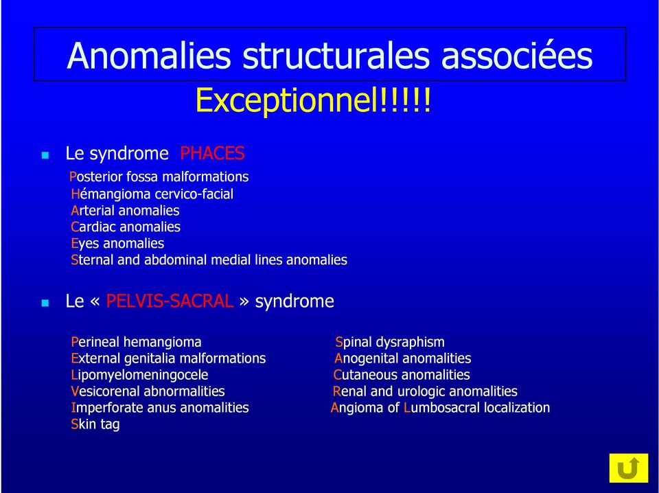 abdominal medial lines anomalies Le «PELVIS-SACRALSACRAL» syndrome Perineal hemangioma Spinal dysraphism External genitalia