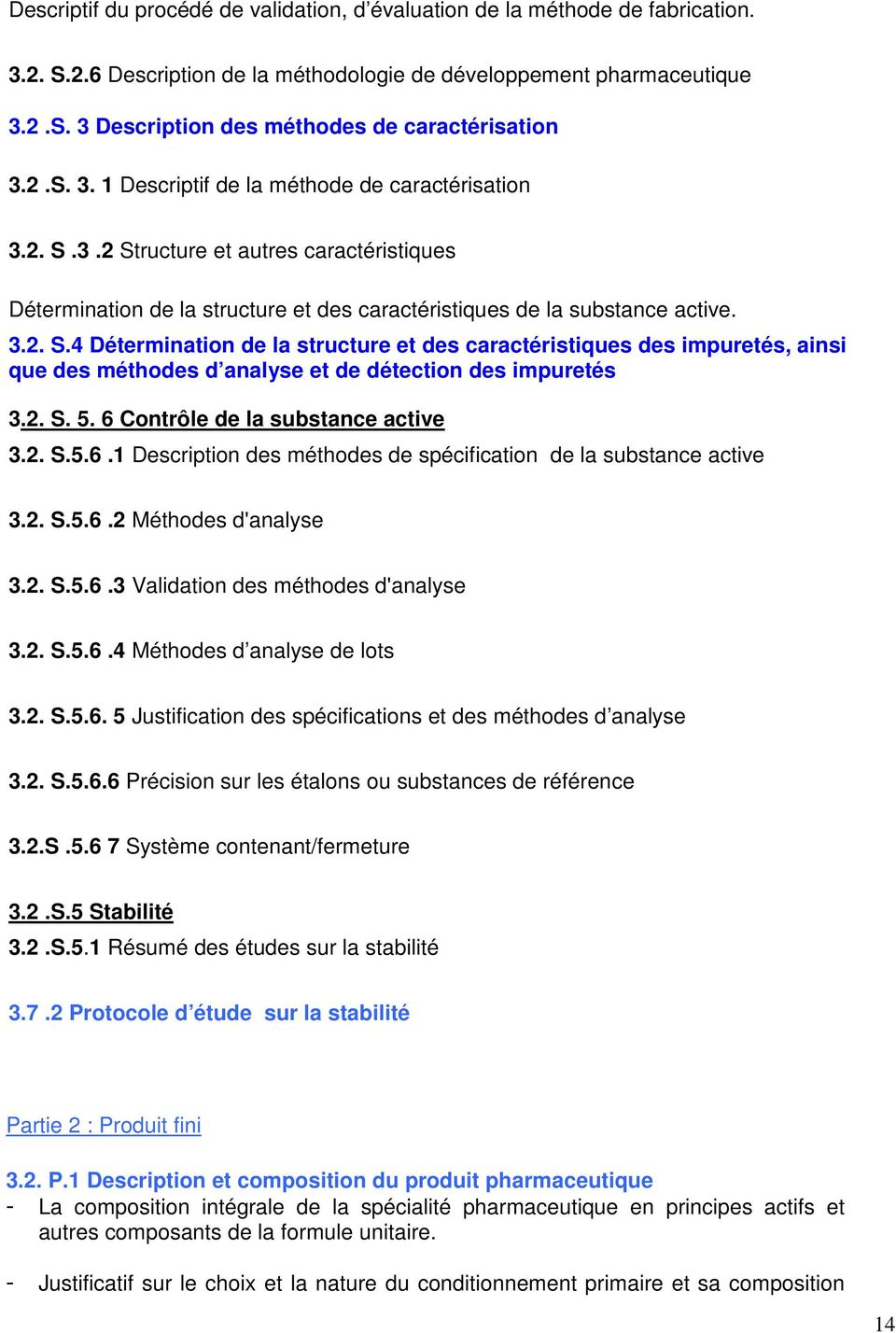 2. S. 5. 6 Contrôle de la substance active 3.2. S.5.6.1 Description des méthodes de spécification de la substance active 3.2. S.5.6.2 Méthodes d'analyse 3.2. S.5.6.3 Validation des méthodes d'analyse 3.