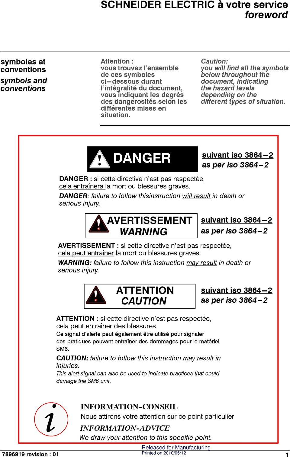 aution: you will find all the symbols below throughout the document, indicating the hazard levels depending on the different types of situation.
