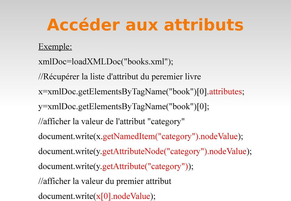 "getelementsbytagname(""book"")[0]; //afficher la valeur de l'attribut ""category"" document.write(x.getnameditem(""category"")."