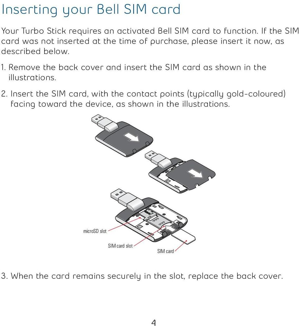 Remove the back cover and insert the SIM card as shown in the illustrations. 2.