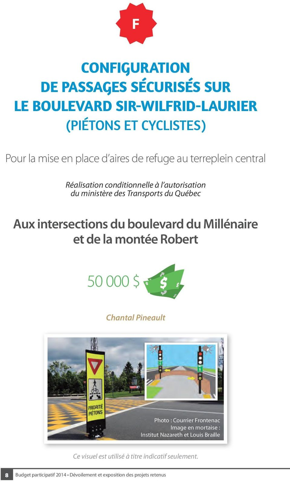 Aux intersections du boulevard du Millénaire et de la montée Robert 50 000 $ Chantal Pineault Photo : Courrier Frontenac