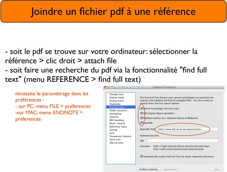 "la fonctionnalité ""find full text"" (menu REFERENCE > find full text) nécessite le"