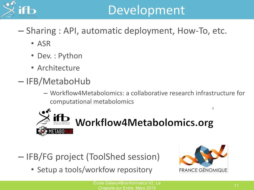 collaborative research infrastructure for computational metabolomics IFB/FG