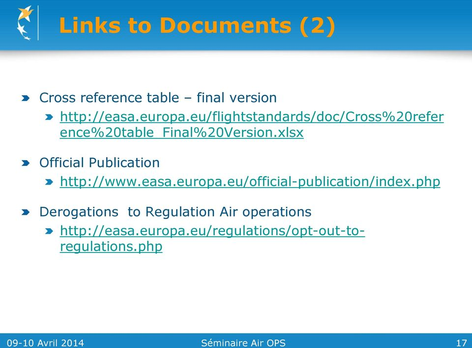xlsx Official Publication http://www.easa.europa.eu/official-publication/index.