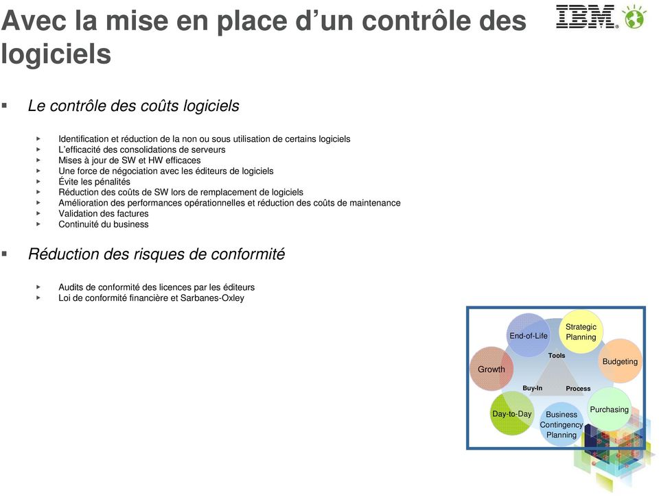 logiciels Amélioration des performances opérationnelles et réduction des coûts de maintenance Validation des factures Continuité du business Réduction des risques de conformité Audits de