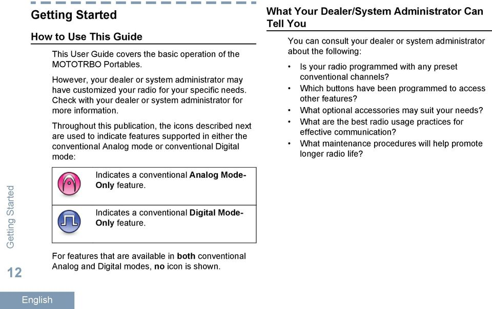 Thrght this publication, the icons described next are used to indicate features supported in either the conventional Analog mode or conventional Digital mode: What Yr Dealer/System Administrator Can