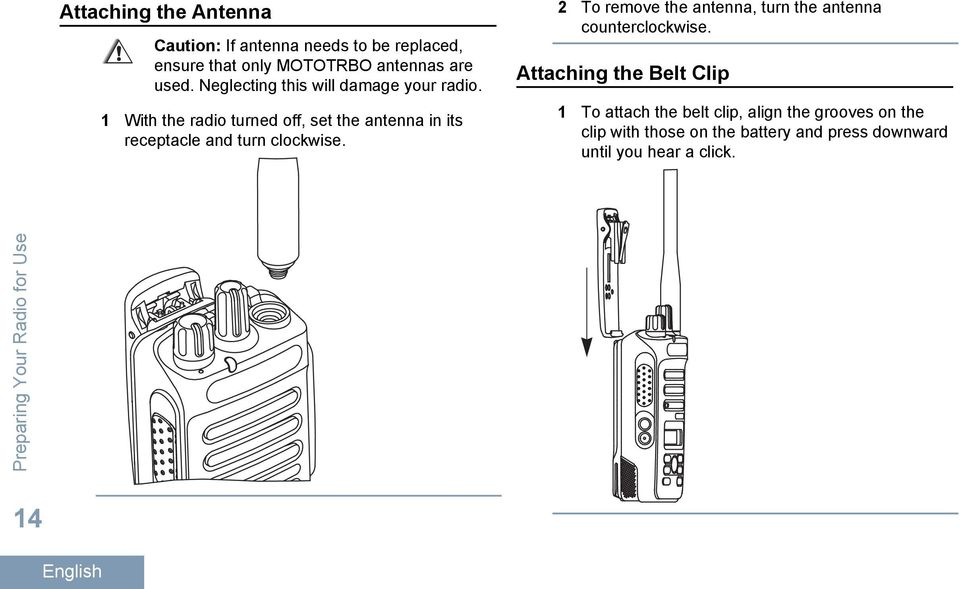1 With the radio turned off, set the antenna in its receptacle and turn clockwise.